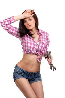 Free Girl With Wrenches In Their Hands Royalty Free Stock Photos - 24178158