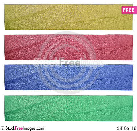 Free Set Of Blank Leather Label Isolated Royalty Free Stock Photos - 24186118