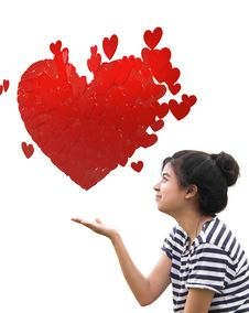 Romantic Young Woman Holding A Red Heart In Hands Stock Image