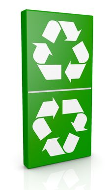 Symbol Of Recycling As A Domino Piece Royalty Free Stock Image