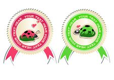 Vector Set Of Stickers With Ladybirds In Love. Royalty Free Stock Images