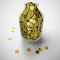 Free Jar Of Golden Coins Stock Images - 24191644