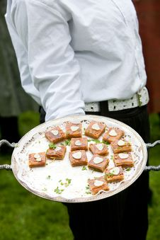 Waiter Serving Food Royalty Free Stock Photography