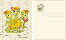 Free Vintage Card With Funny Baby-dragon Royalty Free Stock Image - 24192986