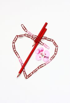 Free Office Heart ,pencils And Flower On The White Stock Image - 24195781