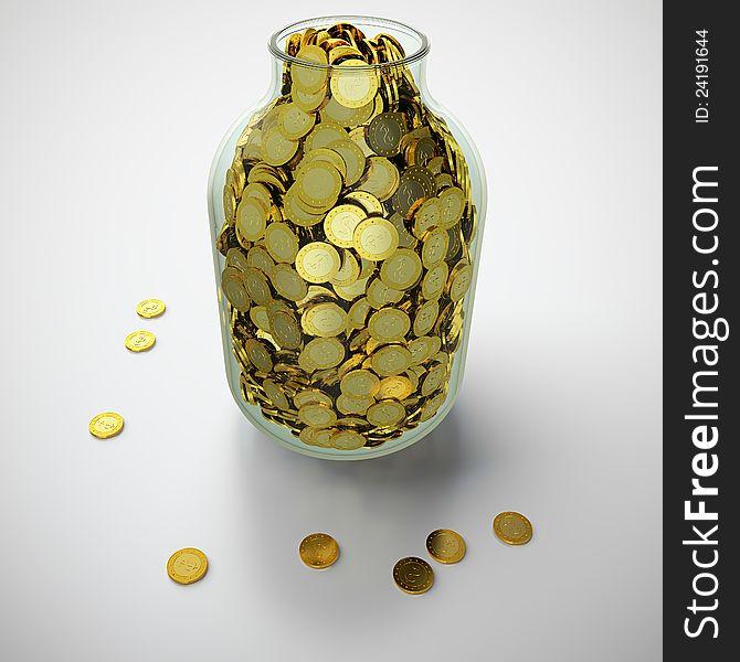 Jar of golden coins