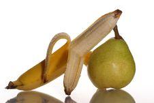 Ripe Banana And Pear Royalty Free Stock Image