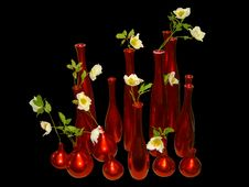 Free Red Vases On Black Background Stock Photos - 2422163