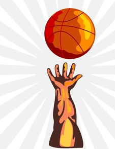 Free Basketball And Hand Rebound Royalty Free Stock Photos - 2422428