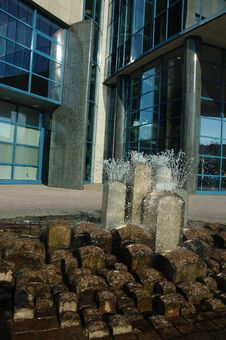 Free Fountain In Front Of Business Stock Images - 2426914