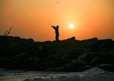 Free Sunset Fishing Stock Photography - 2427592