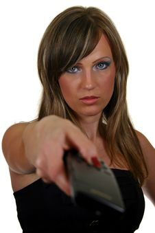 Woman With A Remote Control Stock Photo