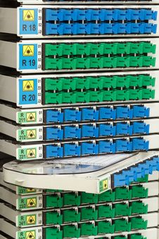 Fiber Optic Rack Stock Image