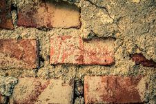 Toned Brick Wall Grunge Background Or Texture Royalty Free Stock Photo