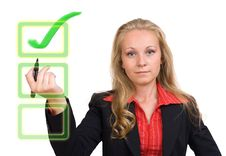 Free Business Woman - Virtual Green Check Mark Royalty Free Stock Photo - 24204005
