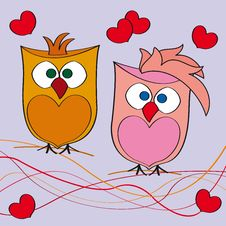 Free Couple Of Owls In Love Stock Image - 24204171