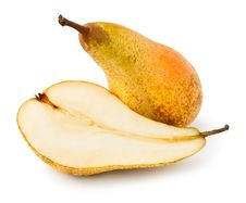 Free Two Pears Cut And Whole Royalty Free Stock Photos - 24221328