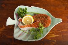 Free Pacific Salmon Steak Royalty Free Stock Photography - 24222187