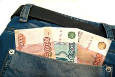 Free Banknotes In A Blue Jeans Pocket Royalty Free Stock Photography - 24229037