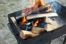 Free Burning Wood In A Brazier Royalty Free Stock Photography - 24231217