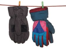 Free Two Pairs Of Ski Gloves. Royalty Free Stock Photography - 24232477