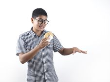Free Indian Man Happy With His Pastry Stock Image - 24238741