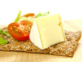 Free Cracker With Soft Cheese And Tomato Stock Photo - 24242080