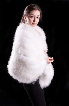 Free The Girl In A White Fur Coat Stock Photography - 24242002