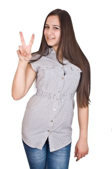 Woman Giving Peace Sign Stock Photo