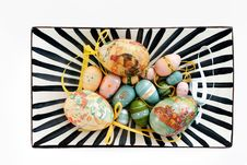 Colourful Easter Eggs On A Plate Royalty Free Stock Image