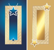 Free Two Golden Frames With Shining Stars Royalty Free Stock Photography - 24247757