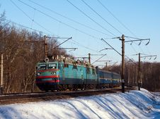 Electric Locomotive With Passenger Cars Stock Image