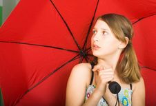 Free Girl With A Red Umbrella Stock Images - 24248854