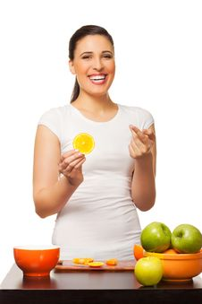 Free Young Laughing Woman With Fruit Royalty Free Stock Images - 24249859