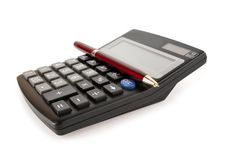 Free Red Pen Lies On A Black Calculator Royalty Free Stock Image - 24249936
