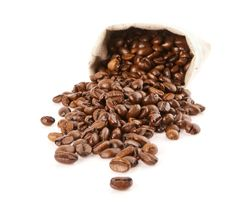 Free Grains Of Coffee Pour Out From A Sack Stock Photography - 24249992