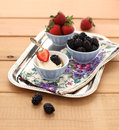 Free Strawberries And Blackberry With Mascarpone Cream Royalty Free Stock Photography - 24252657