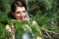 Free Happy Bride In Conifer Branches Stock Images - 24254864