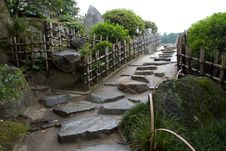 Straight Stone Path In Korakuan Garden Stock Image