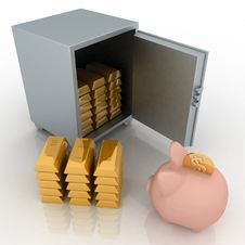 Bullions And Piggy Bank In A Security Safe Royalty Free Stock Photography