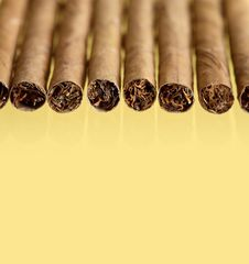 Free Cigars On Yellow Stock Photos - 24262993