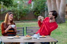 Free Photographers At Outdoor Cafe Royalty Free Stock Photos - 24268428