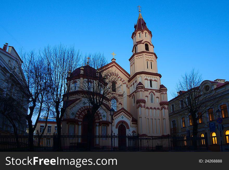 Church in Vilnius night