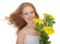 Free Beautiful Smiling Girl Holding Bouquet Flowers Stock Images - 24271934