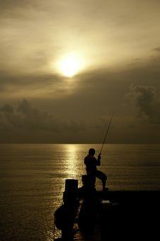 Fishingman And The Sea Stock Image