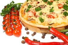 Free Pizza, Cherry Tomatoes And Chili Peppers Stock Images - 24284084