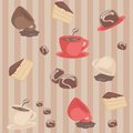 Free Seamless Pattern With Coffee Cups And Cakes Royalty Free Stock Photography - 24293217