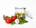 Free Fresh Tomatoes, Basil, Garlic, Herbal Oil Royalty Free Stock Images - 24295439