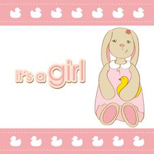 Baby Girl Arrival Card With Rabbit. Stock Photo