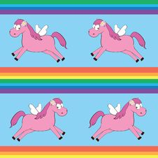 Seamless Pattern With Cartoon Magic Horse Stock Photography